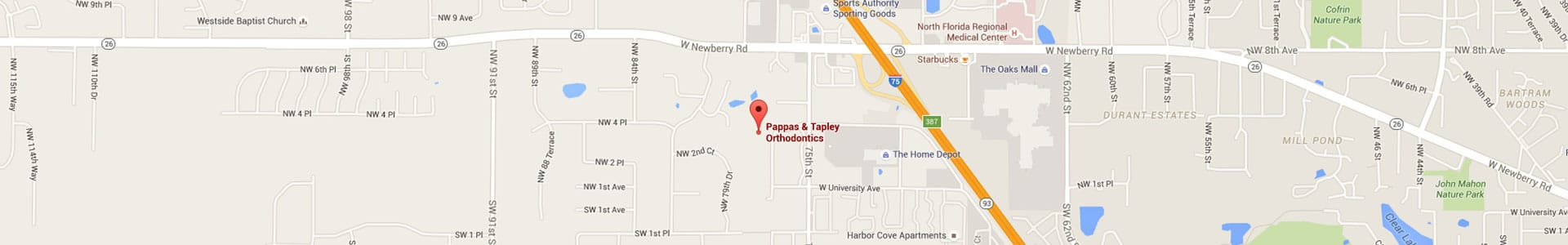 Footer Map Pappas & Tapley Orthodontics Gainesville FL